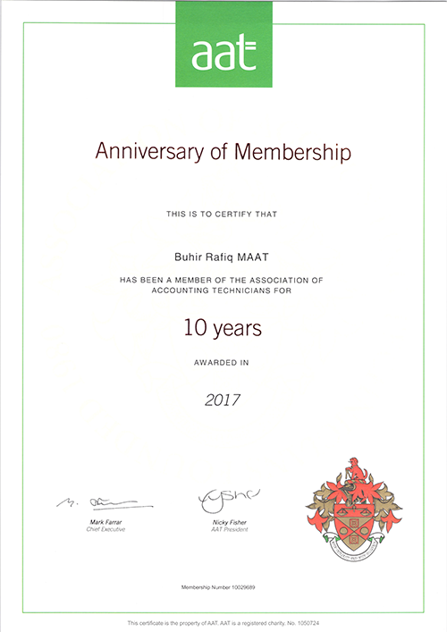 Buhir Rafiq Accountant - 10 Year Certificate from Association of Accouting Technicians AAT