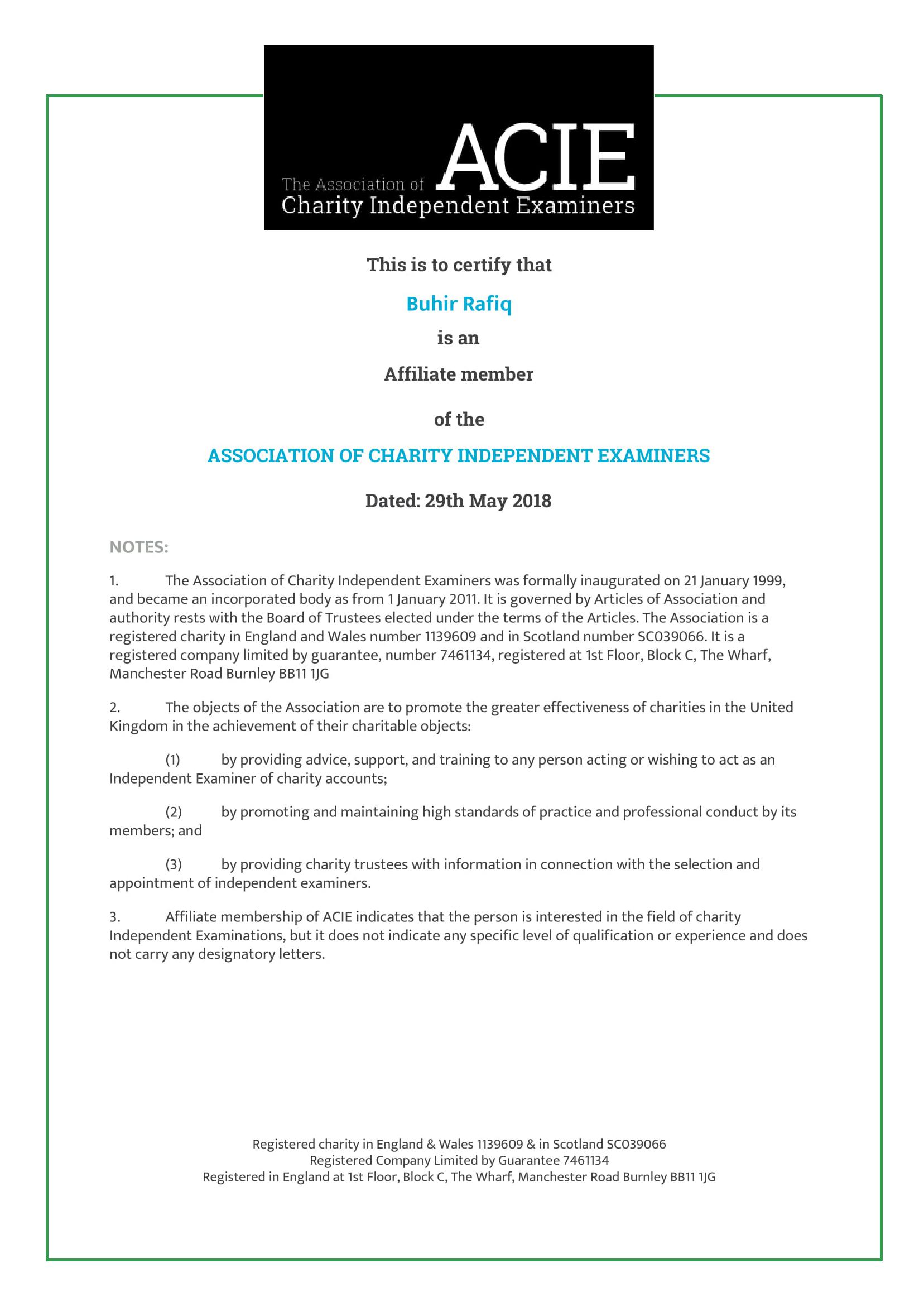 ACIE certificate